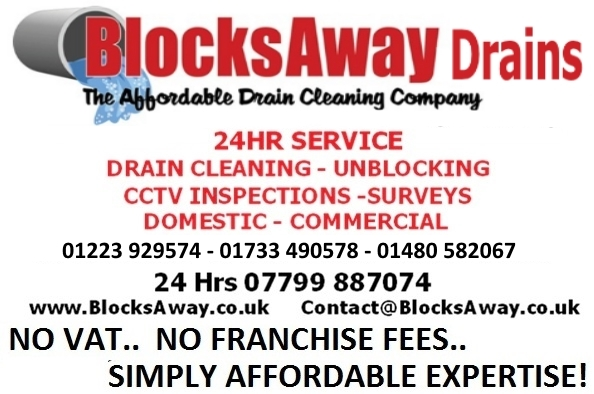 Emergency drain unblocking for Huntingdon, Cambridge, Peterborough